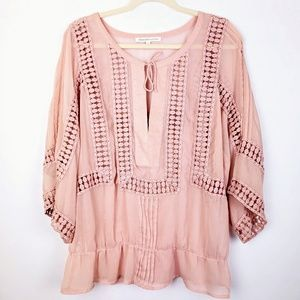 Daniel Rainn Blush Sheer Boho Popover Blouse XL